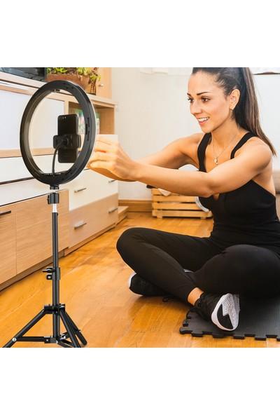 Elegiant Renk Modu Kısılabilir LED Halka Tam Işık Tripod Standı Vlog Makyaj Için Uzaktan Kumandalı Canlı Selfie Tutucu (Yurt Dışından)