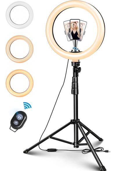 Elegiant 10'' LED Fotoğraf Halka Işık Kısılabilir Stüdyo Video Lambası+Tripod +Uzaktan Kumanda Yeni (Yurt Dışından)
