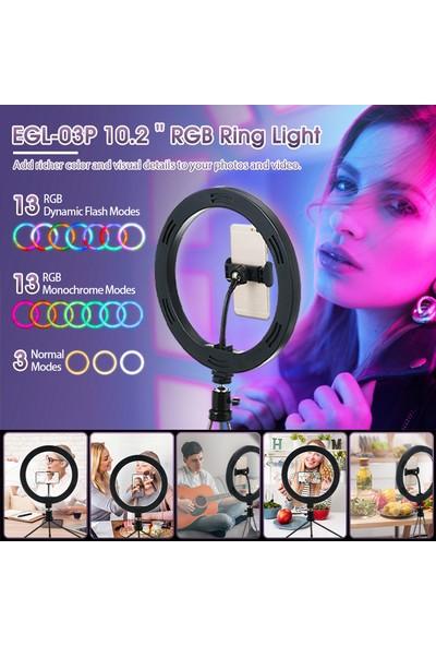 Elegiant 10'' LED Halka Işık Kısılabilir Aydınlatma Kiti Tripod Standı Deklanşör Selfie Lambası (Yurt Dışından)