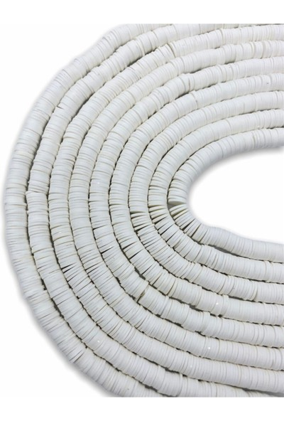 Hedef Bijuteri 8mm Beyaz Renk Polimer Kil Fimo Boncuk DIZISI,40CM Hamur Boncuk Fimo Dizi