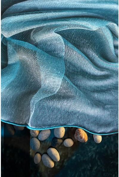 Evdepo Home Çiğdem Tül Perde Ekstraforlu Pilesiz - Turkuaz 200 x 260 cm