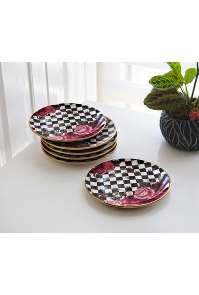Pinkev 6'lı Seramik Pasta Tatlı Sunum Tabağı Seti - 19 cm