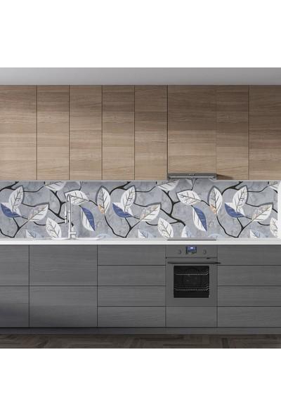 Sticker Art Mutfak Tezgah Arası Folyo Fayans Kaplama Folyosu Duvar Renkli Yapraklar 60 x 500 cm