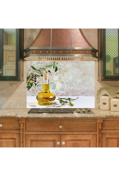 Sticker Art Mutfak Duvar Tezgah Arası Ocak Arkası Sticker Kaplama Zeytinyağı Şişe