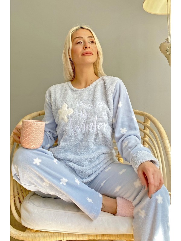 Pijama Evi Mavi Hello Winter Desenli Kadın Peluş Pijama Takımı