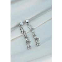 Clariss Yeni Sezon Gümüş Renk Tiffany Tasarımlı Küpe