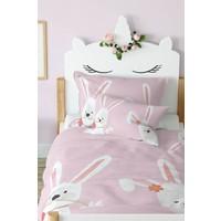 Tropik Home Çiçekli Tavşanlar Çocuk Nevresim %100 Pamuk Saten