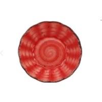 Acem Güral Porselen Acem 10 cm Çay Tabak Kırmızı