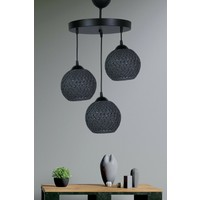 Supply Home Rustik 3'lü Top Siyah Sarkıt Avize Salon Mutfak Antre
