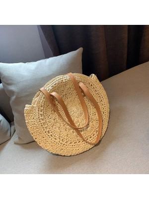 Hong Store Kadın Modası Retro Dokuma Omuz Çantası Çiçekli Çanta Dokuma Çanta Plaj Çantası (Yurt Dışından)
