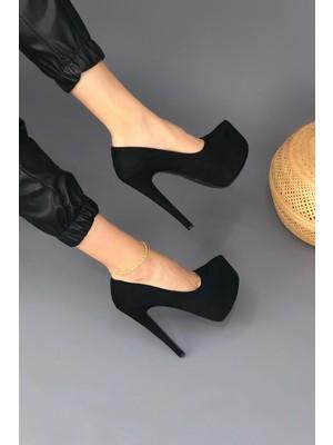 Tarz Topuklar Ince Topuklu Siyah Süet Platform Ayakkabı