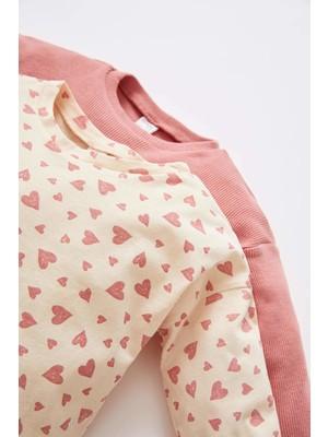 DeFacto Kız Bebek Kalp Desenli Uzun Kollu 2'li Pamuklu Tişört V9619A221AU