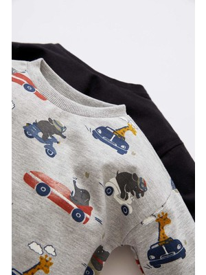 DeFacto Erkek Bebek Regular Fit 2'li Uzun Kollu Tişört V9502A221AU