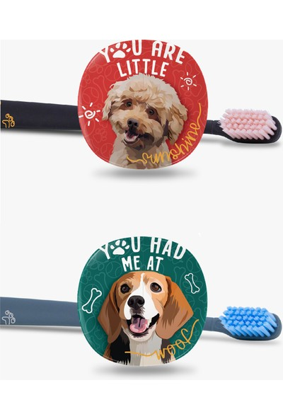Flipper Pets Hijyenik Saklama Kabı ve Yetişkin Diş Fırçası Seti-2'li Set -Poodle-Beagle
