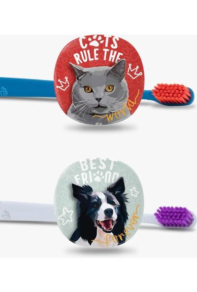 Flipper Pets Hijyenik Saklama Kabı ve Yetişkin Diş Fırçası Seti-2'li Set -British ve Border Collie