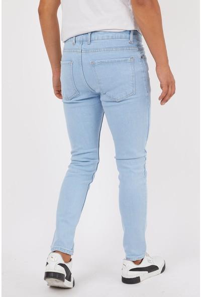 Las Vegas Buz Mavi Eskitme Düz Erkek Kot Pantolon