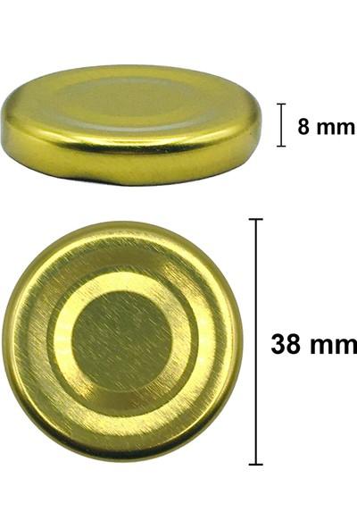 Afracam 105 ml Metal Gold Kapaklı Şeffaf Cam Kavanoz 24 Adet