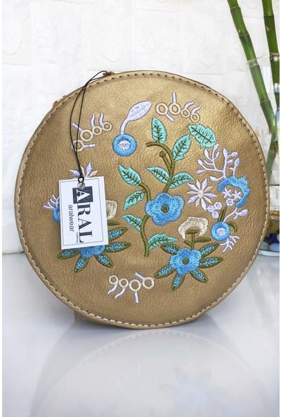Aral Çiçek Desenli Altın Rengi Yuvarlak Deri Kadın Omuz Çantası