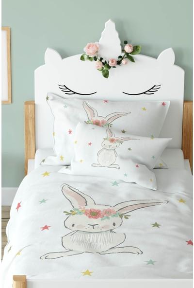 Tropik Home Çiçekli Tavşan ve Yıldızlar Çocuk Nevresim %100 Pamuk Saten
