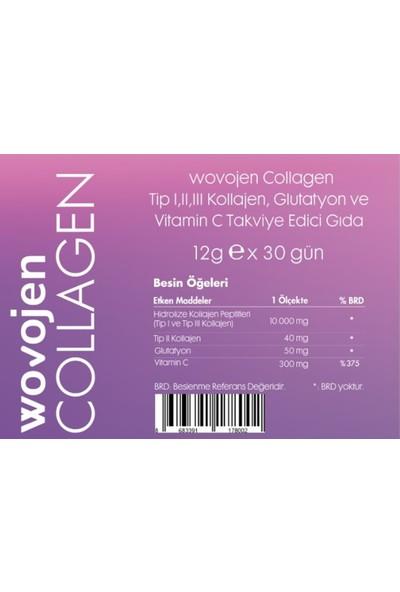 Wovojen Collagen(Kolajen) Tip 1-2-3 Glutatyon ve Vitamin C Takviye Edici Gıda