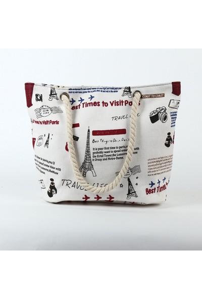 Hong Store Kadın Plaj Baskı Omuz Çantaları Kapasiteli Kadın Kanvas Çantalar A (Yurt Dışından)