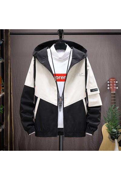 Outdoor Jackets Erkek Günlük Rüzgarlık Büyük Boy Hafif Kapşonlu Spor Ceket Ipli Zip Gevşek Fit Golf Kaykay Baskı Dış Giyim (Yurt Dışından)