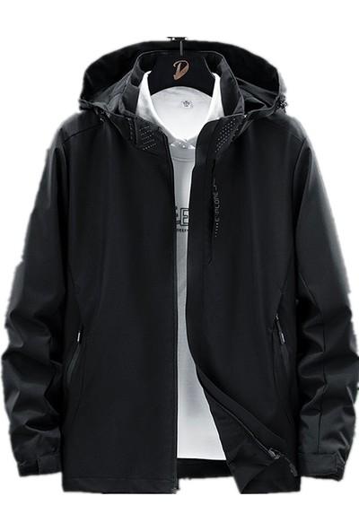 Outdoor Jackets Erkekler Açık Günlük Spor Kapşonlu Ceket Kaban Nefes Alabilir Yürüyüş Kamp Trekking Golf Dış Giyim Rüzgarlık Sonbahar Ince Ceket (Yurt Dışından)