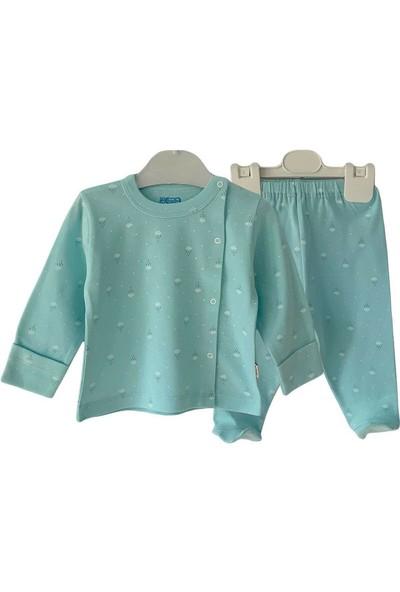 Bahar Bebe Yenidoğan Bebek Pijama Bulutlu Turkuaz