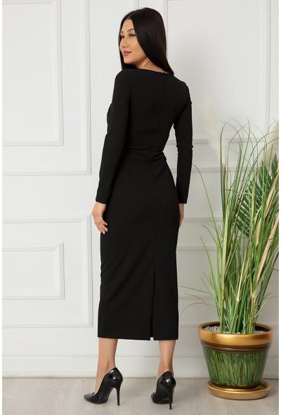 Kalopya Kadın Krep Kruvaze Uzun Kol Elbise 10559