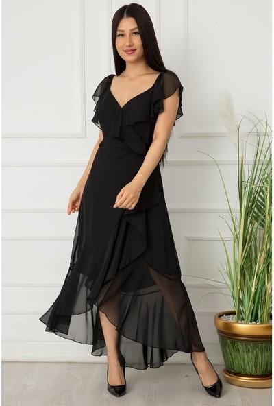 Kalopya Kadın Fırfırlı Şifon Elbise 21Y2112
