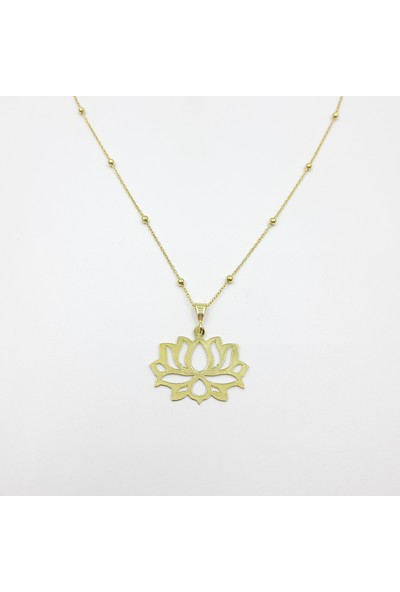Just4you 925 Ayar Gümüş Lotus Çiçeği Toplu Zincirli Kolye