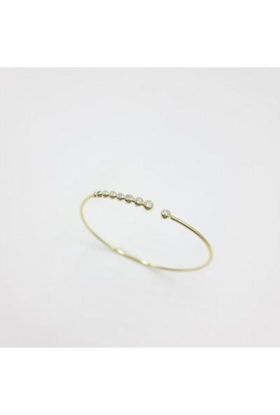 Just4you 925 Ayar Gümüş Beyaz Zirkon Suyolu Kelepçe Bileklik