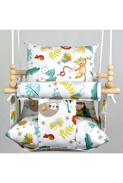 Berra Hayat Tavana Asılabilen Bebek Çocuk Salıncak Doğal Ahşap Çocuk   Bebek Hamak Comfort Şanslı Orman