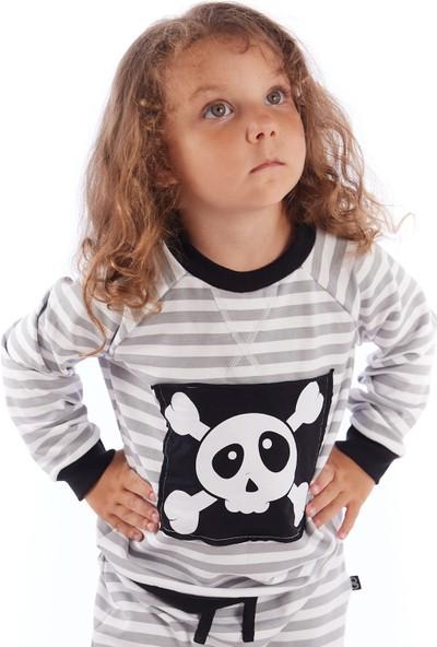 Colorinas Bebek Çizgili Patchli Sweatshirt Gri-Beyaz