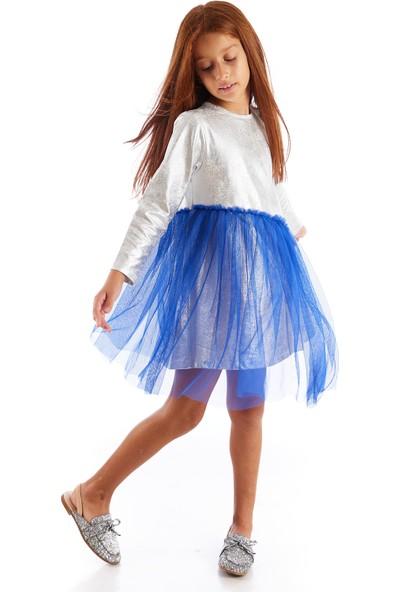 Colorinas Varak Baskılı Sax Tüllü Elbise