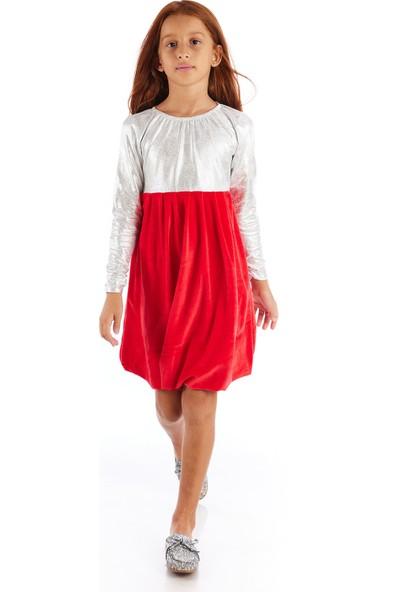 Colorinas Snow Varak Baskılı Kadife Elbise