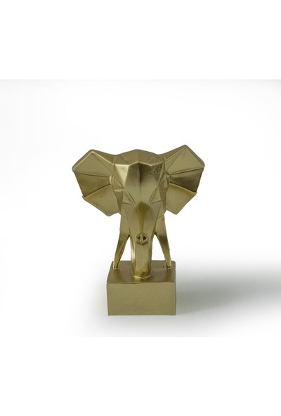 Eymense Kübik Fil Dekoratif Obje Gold