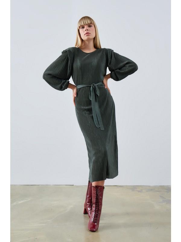 Gusto Pilise Kumaş Uzun Elbise - Haki