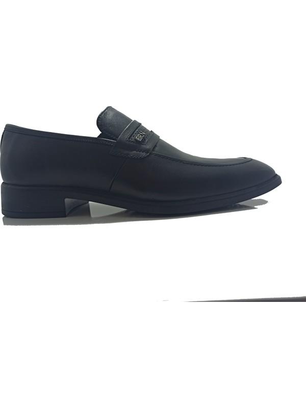 Berenni M-347 Siyah Deri Klasik Erkek Ayakkabı