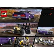 LEGO® Speed Champions Mopar Dodge//SRT Top Fuel Dragster and 1970 Dodge Challenger T/A 76904 - Araba Sevenler İçin Koleksiyonluk Oyuncak Yapım Seti (627 Parça)