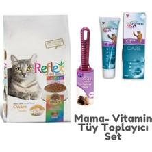 Reflex Tavuklu Kedi Maması 3 kg Spectrum Kedi Vitamin 100 gr Parex 60'lı Tüy Toplayıcı Set
