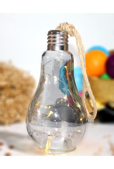 Aydınlı Ampül Içinde LED Lamba Pilli 22 cm Siyah Dekoratif