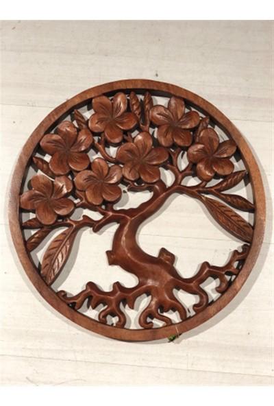 Miamantra El Oyması Ahşap Hayat Ağacı Pano - 40 cm