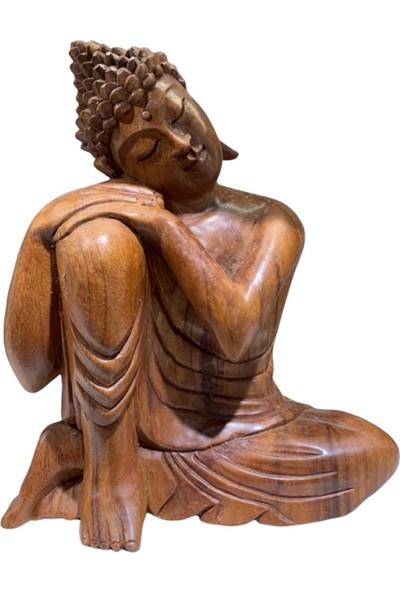 Miamantra Düşünen Buda Ahşap El Yapımı Heykel (Büyük Boy 27 Cm)