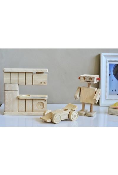Miamantra Montessori Boyanabilir Ahşap Oyuncak Seti (Mutfak, Araba, Robot)