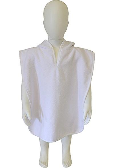 Ender Home Beyaz Triga Kadife Bebek Pançosu Çocuk Pançosu 4 Farklı Beden 5-6 Yaş Arası Kapşonlu Model Panço