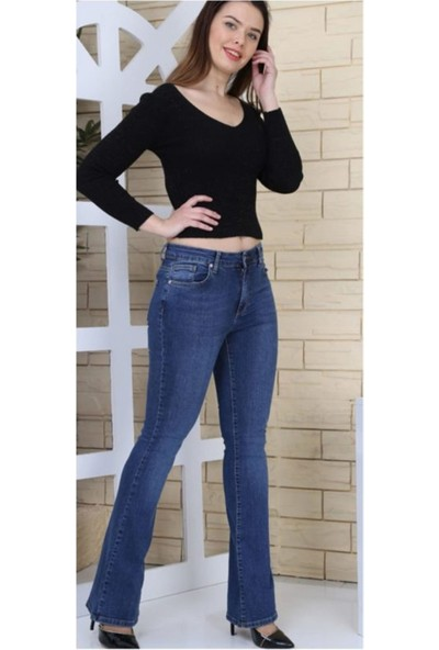 Gül Moda Mavi Ispanyol Paça Koyu Likralı Yüksek Bel Kot Pantolon