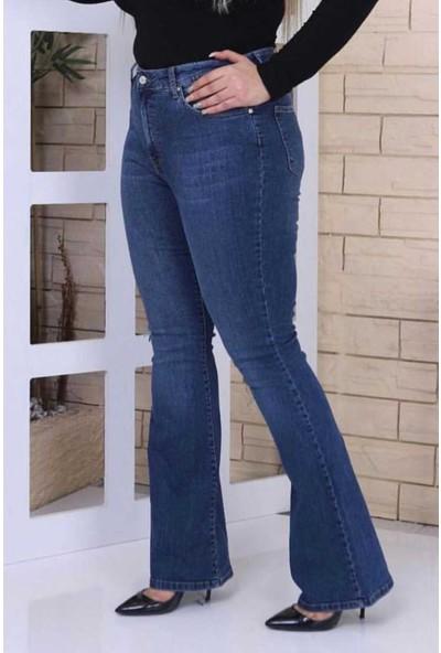 Gül Moda Mavi Ispanyol Paça Likralı Yüksek Bel Kot Pantolon