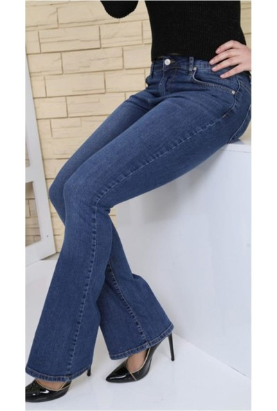 Gül Moda Ispanyol Paça Koyu Mavi Likralı Yüksek Bel Kot Pantolon