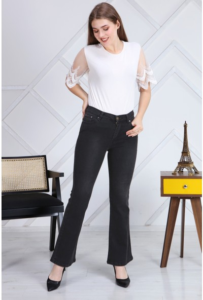 Gül Moda Antrasit Ispanyol Paça Likralı Yüksek Bel Kot Pantolon Jeans
